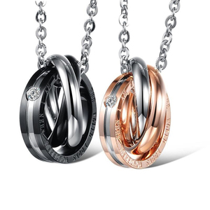 China factory wholesale stainless steel couple jewelry engraved ring holding necklace