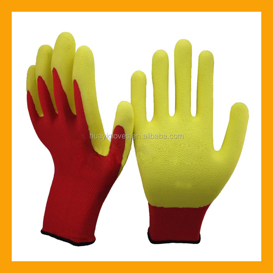 Red Polyester Latex Palm Labor Gloves Yellow Foam Latex Protective Gloves