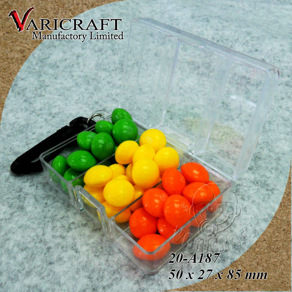 Wholesale clear plastic case with hinged lid and keychain 3 compartment box