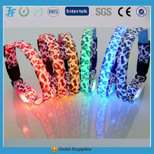 Leopard Series Pet accessories flashing light pet collars dog collar