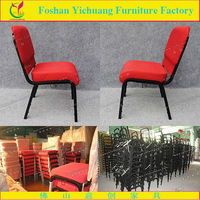 Stacking design iron frame red padded church furnishings with interlocking YCX-G39
