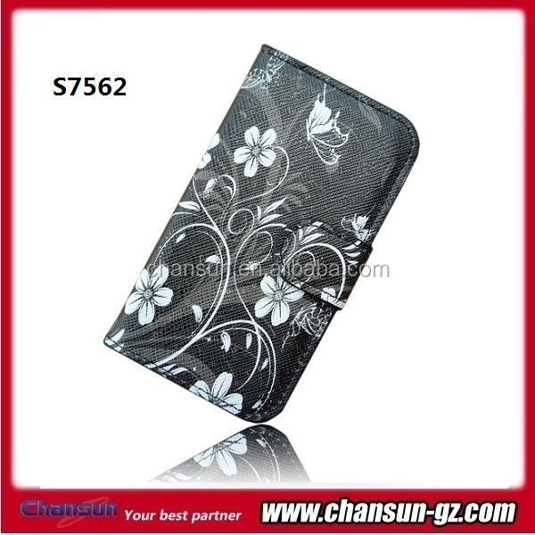 butterfly book flip leather case for samsung galaxy s duos s7562