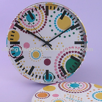 Round tin clock metal wall clock tin gift