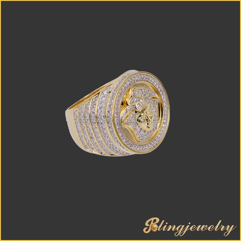 Hip hop jewelry 18k gold plated cz micro pave medusa ring