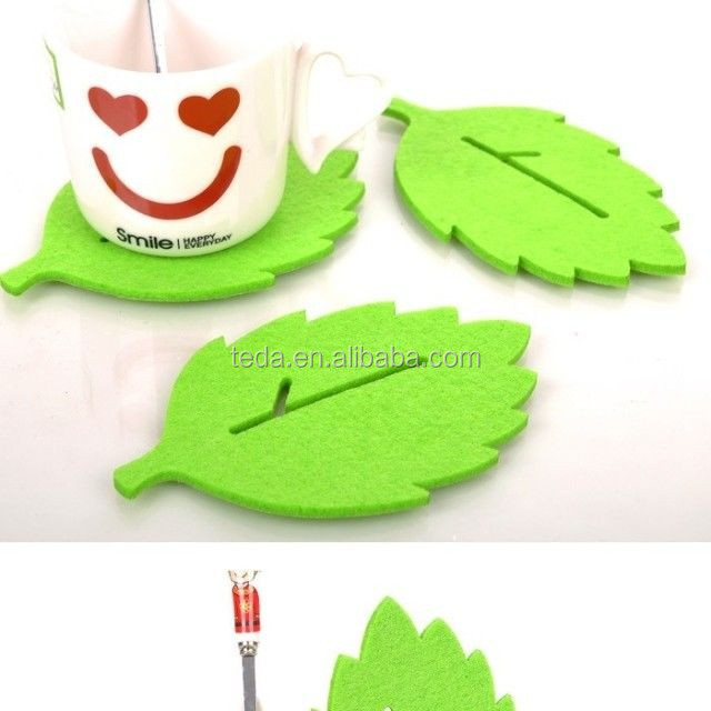 leaf shape laser cutting felt coaster