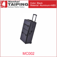 TP MC002 2in1 Black Makeup Aluminum Rolling Cosmetic Train Case Hair Style Lockable Box 2-Wheel