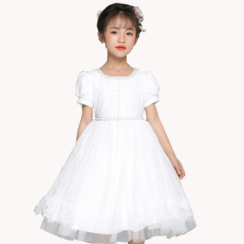 H16101 Flower Girls Dresses Soft Lace Dress with Rhinestones