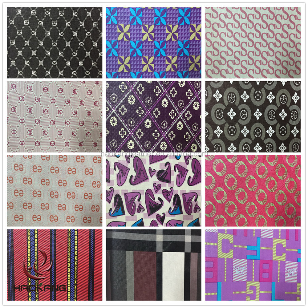 wholesale girls printed faux leather fabric for bag
