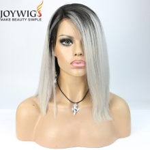 new style two tone lace front wig short grey bob human hair wigs for black women