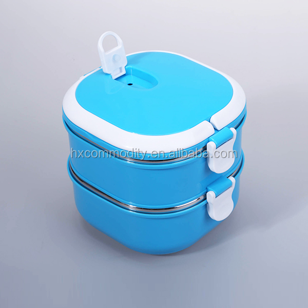 1500ml square stainless steel eco lunch boxes blues with thermos