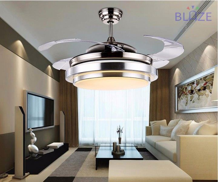 Newest design Invisible fan remote control ceiling fans with light