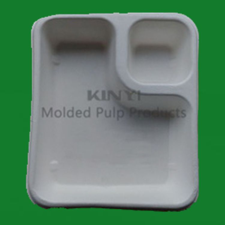 Bio pulp molded sugarcane bagasse food container, recycle bagasse paper tray, disposable paper tableware