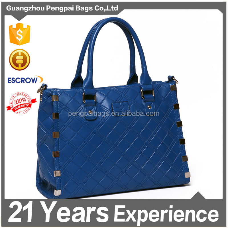 hot fashion hadbags for 2015 leather lady rivet decoration lady leather handbags thailand tote shopping bag