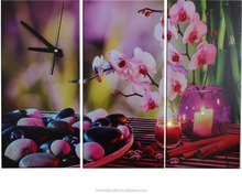 led canvas art wall clock 3 piece candles with orchids flower picture canvas printing light up for spa room decorative art work
