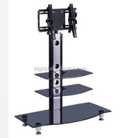 cheap design modern iron and tempered glass TV stands three layers