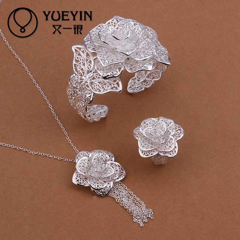 <strong>New</strong> <strong>style</strong> rose flower design silver plated bridal jewelry set