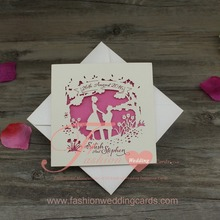 Customized Romantic Pink Laser Cut Wedding Invitations Cards Supplier
