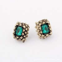 MUB fashion women earrings crystal avenue wholesale jewelry multi-emerald gemstone silver earring