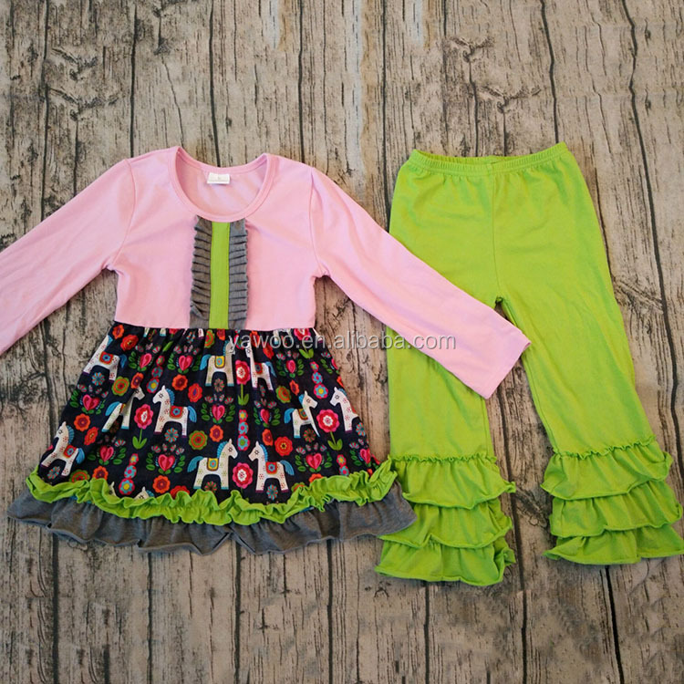 Hot Sale Posh Toddler Girls Ruffle Dress Cotton Sets Boutique Clothing Kids Girl Casual Fall Outfit