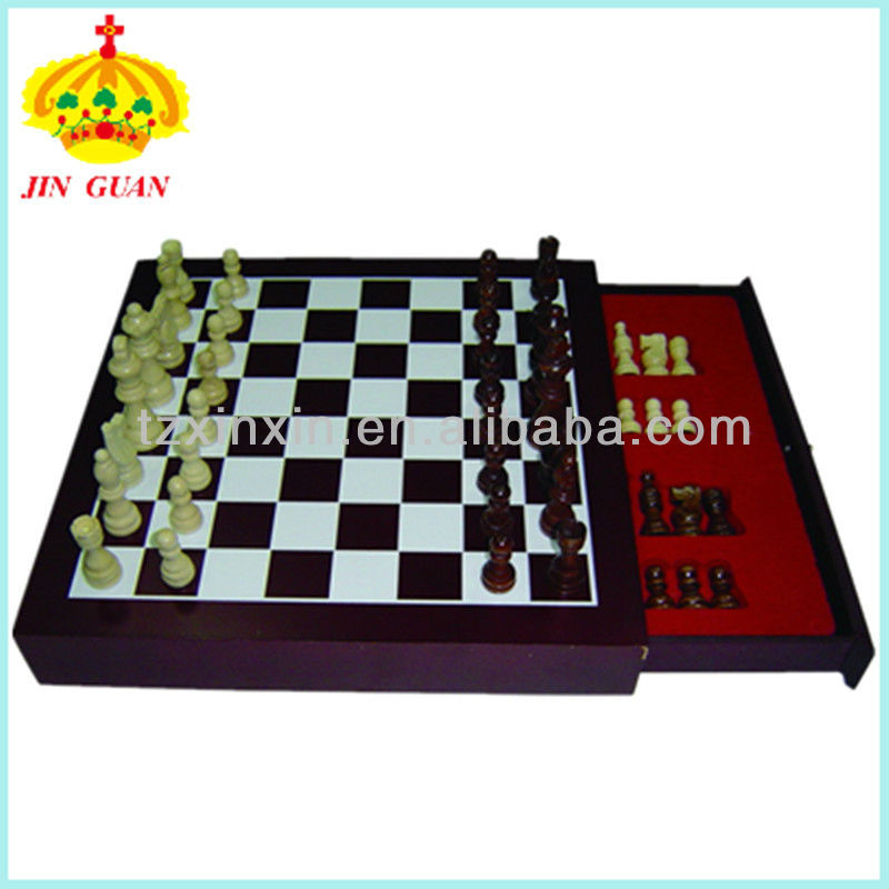 Professional wooden chess game box with a drawer / Funny outdoor/indoor chess set