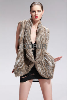 QD27586A Factory Direct Sale Knitted Fashion Rabbit Fur Women Vests & Waistcoats