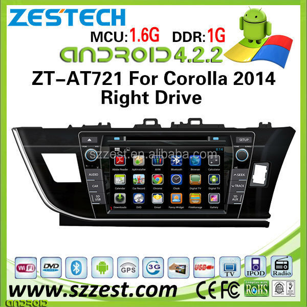 ZESTECH wholesale OEM android 4.2 car dvd for Toyota Corolla 2014 right drive android car gps radio with wifi bluetooth 3g