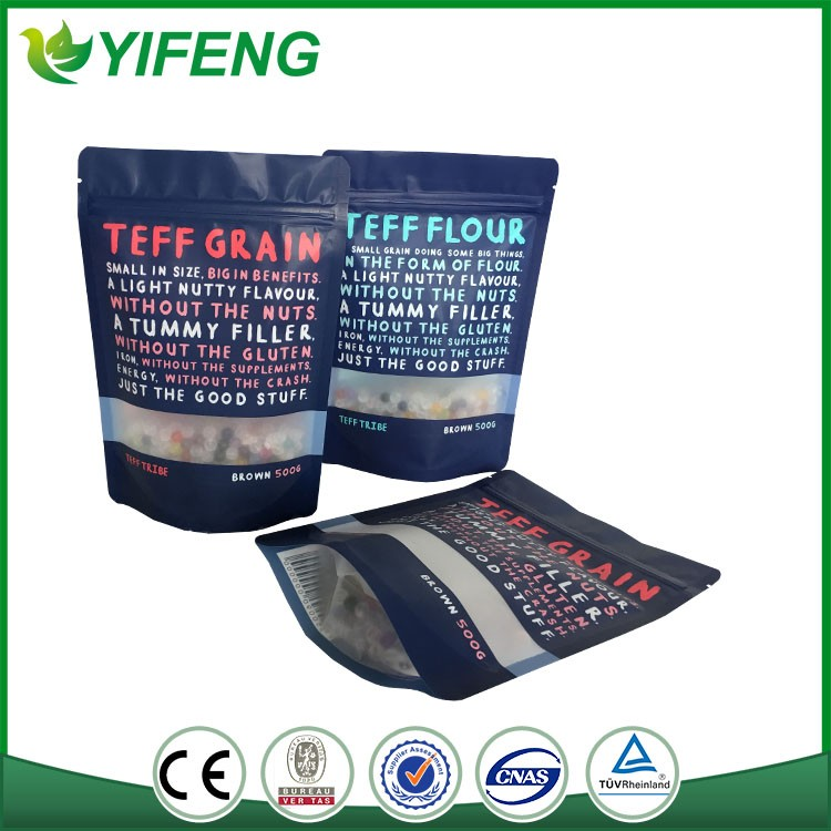 printing zipper plastic packaging standing up pouch