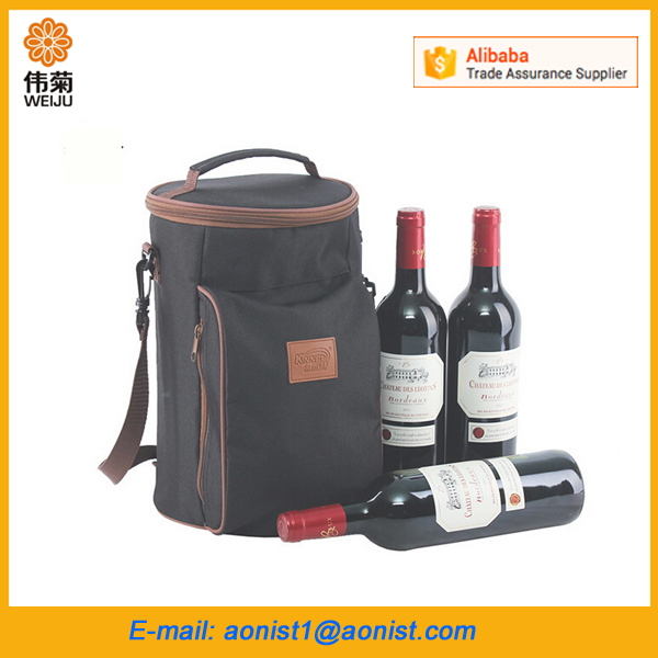 custom 3 bottles picnic round wine bottle carrier cooler bag pack for wine