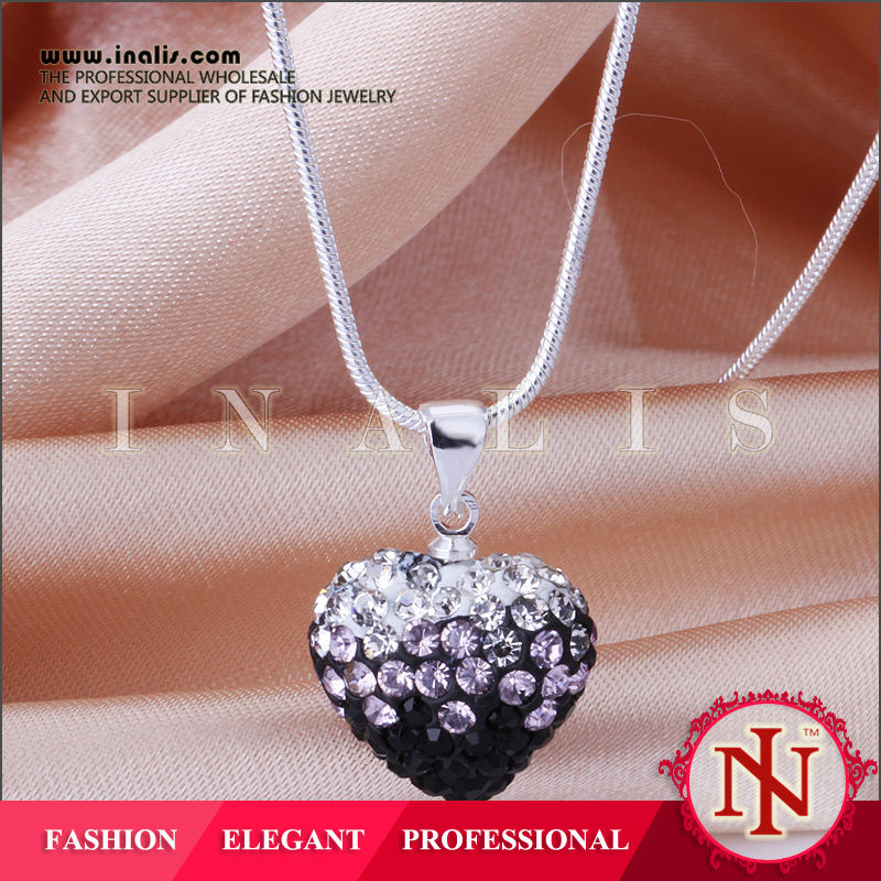 Pretty heart shaped crystal cheap initial necklaces N017