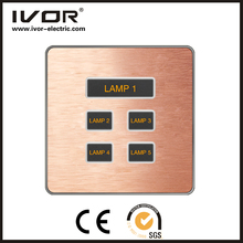 Good Quality IVOR 5 gang 3 way soft touch panel light switch