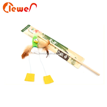 Animal colorful interactive retractable cat fishing rod toy