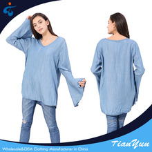 Manufactory modern design oem comfortable top quality denim shirt for women