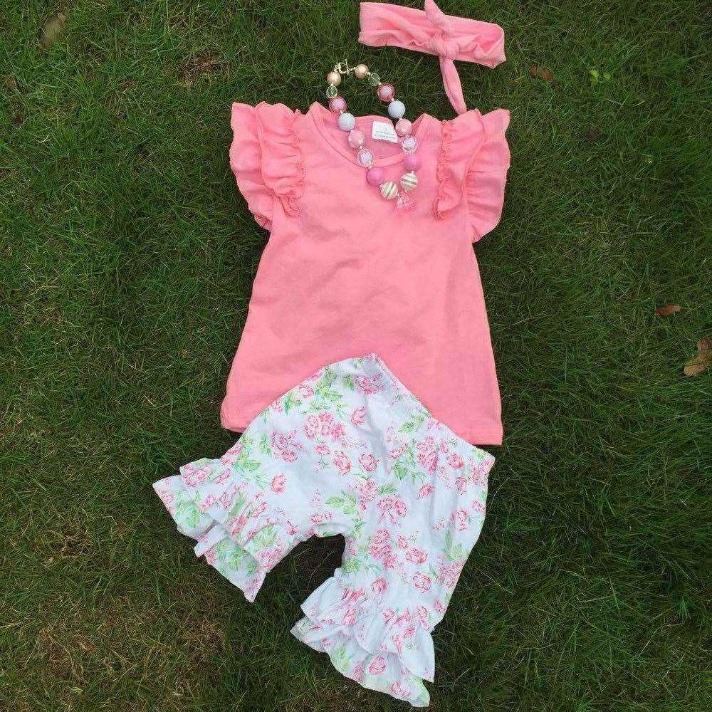 2015 Newest Arrival country girl clothes Summer Casual Boutique Outfit Ruffler Short Sets with necklace and headband