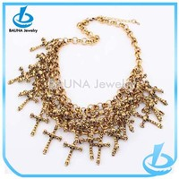Wholesale fashion multi layer choker gold plating cross tassel necklace for sale