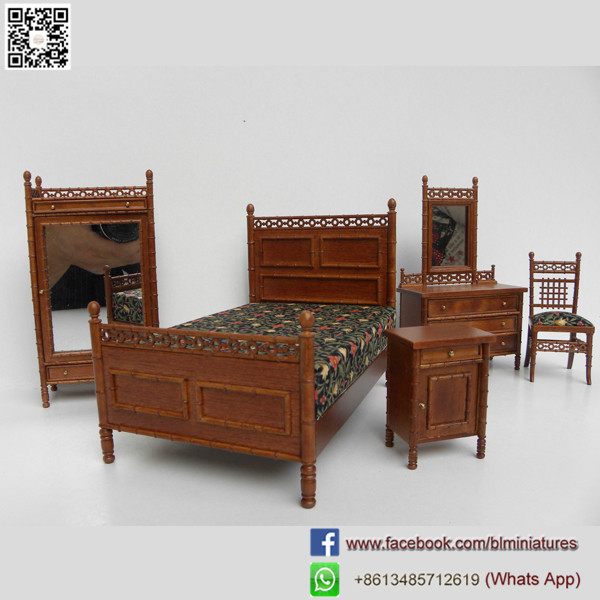 Dollhouse Miniatures 1:12 Wooden Toys Bedroom Set Childrens Dolls House Furniture