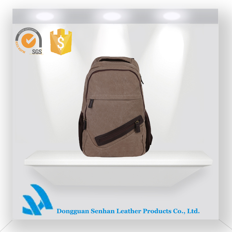 fashion Brown canvas promotional detachable solar travel camping backpack bag