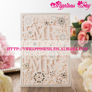 "White Hollow ""Mr & Mrs"" Laser Cut Romantic Wedding Invitations Card Personalized Custom Printable Wedding Event & Party Supplies"