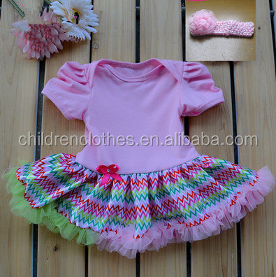 Summer clothes newborn baby dress one piece tutu chevron with lace bubble baby romper