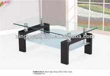 MDF board with high glossy painting and tempered glass coffee table