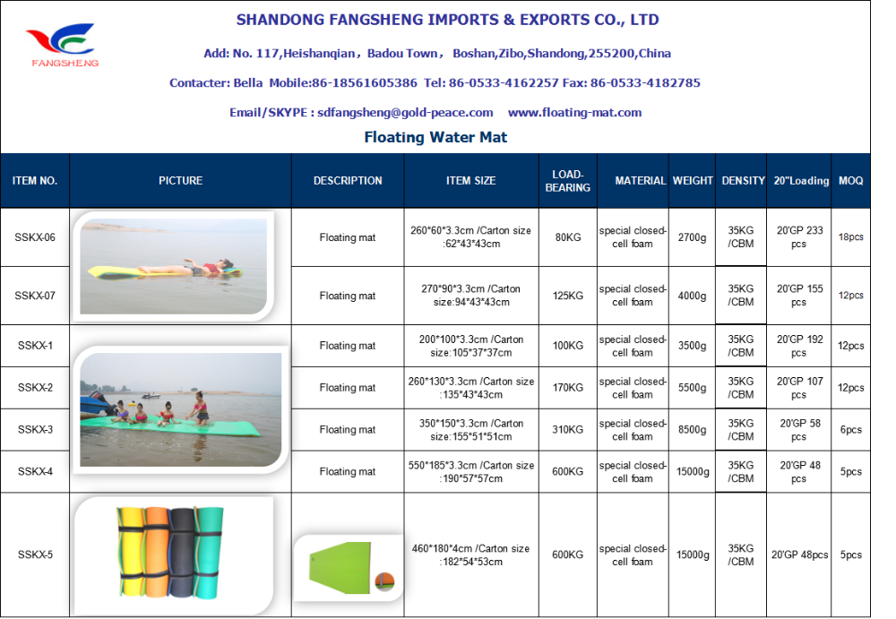 High retailing profits floating foam pad/Pool Mat/water raft size/color/logo can be customized
