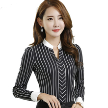New OL fashion V-neck stripe blouses women elegant slim formal long sleeve chiffon shirt office ladies plus size work wear tops