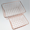 549-97C home desk metal rose gold basket for kitchen storage
