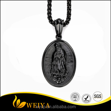 Our Lady of Guadalupe Prayer Black Necklace Carved Virgin Mary Pendant