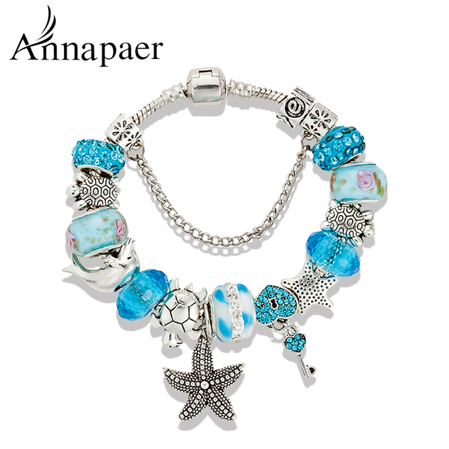 Annapaer 2016 Fashion Jewelry Lock Tortoise charm Bracelets & Bangles Blue Glass DIY Beads Bracelets for Women Gift B15408