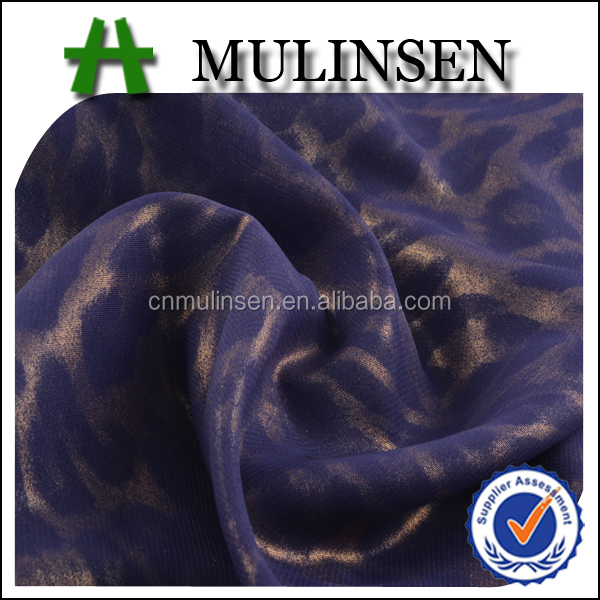 Mulinsen Textile Plain Dyed Hot Stamping Metallic Foil 100% Polyester Composition of Chiffon