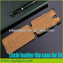 Hottest Sale Luxury Vertical 100% Genuine leather factory price cases covers for galaxy s4