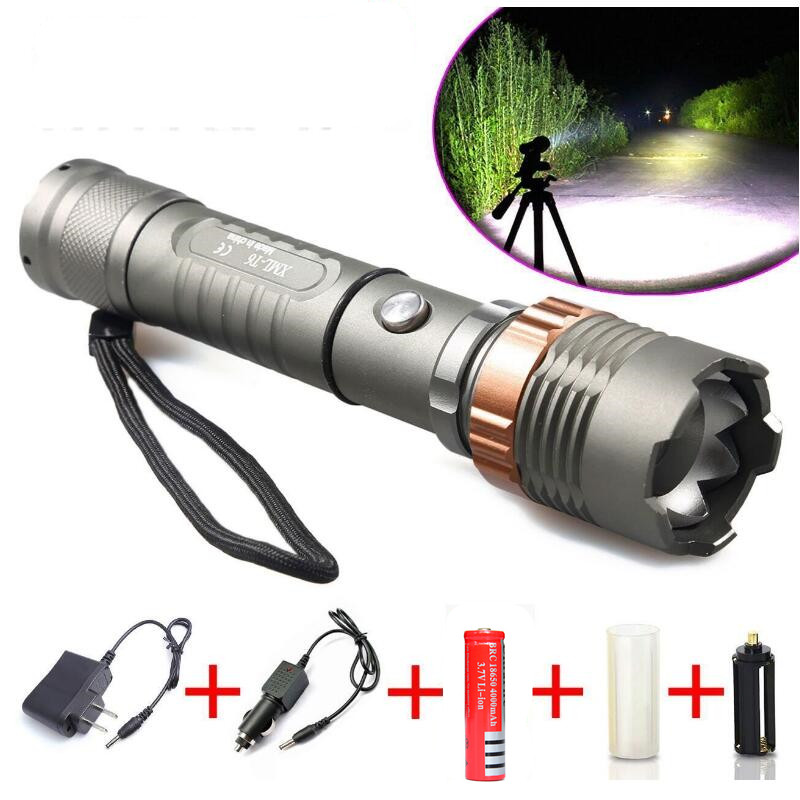 Ultrafire led flashlight Waterproof 3 modes 2000LM XM-L T6 LED Flashlight zoomable zoom adjustable torch +18650 <strong>Battery</strong> +Charger