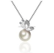 Pearls Pendant Delicate Necklace S925 Sterling Silver Necklace Anniversary Women for Gifts