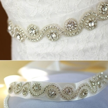 Wedding Belt Crystal and Rhinestone Beaded Applique Bridal Sash