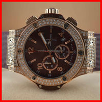 Men and lady metal rubber band water resistant diamond studded watch
